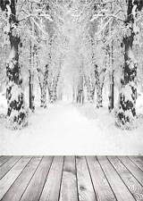 Snow Photography Backdrops Wood Floor Photo Studio Scenic Background Vinyl 5x7FT