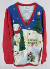 Ugly Christmas Sweater M Quacker Factory Patriotic Flags Snowman Angel Trees