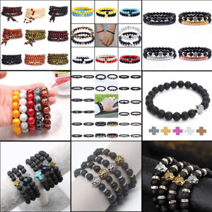 Men Male Black Lava Natural Stone Beads Crown Lion Beaded Cuff Bangle Bracelets