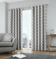 Fusion Brooklyn Geometric 100% Cotton Fully Lined Eyelet Curtains Grey
