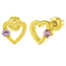 18k Yellow Gold Plated Small Pink Crystal Heart Screw Back Earrings for Girls