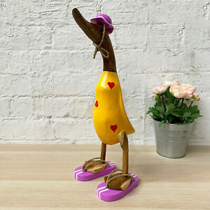Yellow Wooden Duck Purple Sandals Red Love Hearts Sculpture Statue Ornament New