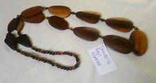 Long length wooden bead necklace bohemian hippie