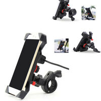 360° Rotation Motorcycle Phone Holder Mount Stand 2A USB Charger with 2X Bracket