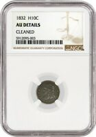 1832 H10C Capped Bust Half Dime Silver NGC AU Details Cleaned Coin