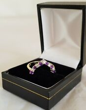 18ct Gold Dress Ring. Set with Brilliant Diamonds & Amethyst. Birmingham 1995