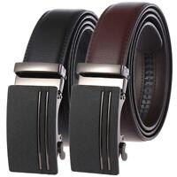 HJones Trend Men's Leather Belt Automatic Buckle Belt Ratchet Strap Jeans Dress