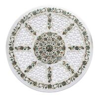 16 Inches Round Marble Coffee Table Top Inlay Corner Table with Shiny Gemstones