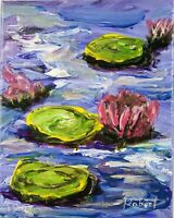"""Blue Water Lily Pond after Monet Painting Impressionism signed """"Robert"""" COA"""