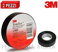 2 NASTRO ISOLANTE ISOLATO NERO 3M IN PVC 15 MM X 10 MT ELETTRICISTA TEMFLEX 1500