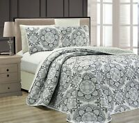 Fancy Linen 3pc Oversize Gray White Black Bedspread Reversible All Sizes New