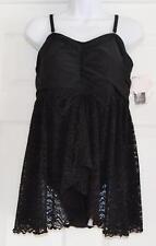 INC International Concepts Black Crochet Flyaway One Piece Swimsuit Sz 18W (K16)