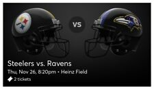 Baltimore Ravens @ Pittsburgh Steelers Heinz Field 11-26-20 2 section143 row Q