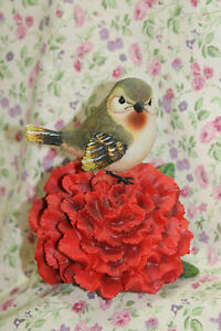 NEW GANZ RED CARNATION BIRD FIGURE