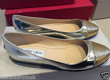 "JIMMY CHOO ""WAINE"" Silver Leather embellished luxury Ballerina flat 36"