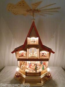 Glässer elektrische Pyramide Lichterhaus Adventshaus Beleuchtung Erzgebirge 77cm