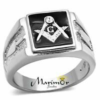 Men's Stainless Steel Tusk 316 Crystal Masonic Lodge Freemason Ring Band Sz 8-13