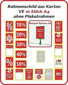 Hinweisschilder A4, SALE, Reduziert, Prozente, Rahmen, Aufsteller, Neu