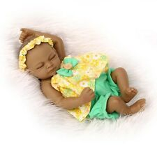 "Lifelike Reborn Sleeping Black Girl Dolls Full Silicone Vinyl Baby 11"" Handmade"