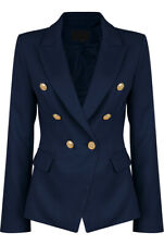 Ladies Attentif Blazer | Double Breasted Jacket with Gold Buttons | Navy