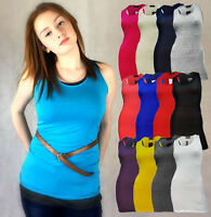 LADIES PLAIN EXTRA LONG SLEEVELESS T SHIRT TOP MUSCLE VEST BLACK RED 8 10 12 14