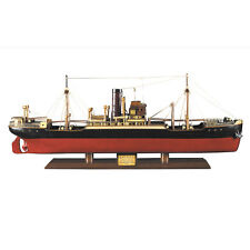 "1897 Malacca Tramp Steamer Wooden Cargo Ship Model 26.75"" Nautical Decor"