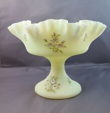 Fenton CUSTARD Satin Footed COMPORT Double Ruffle Candy Dish APPLE BLOSSOM #7429