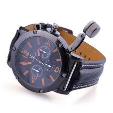INFANTRY Men's Quartz Wrist Watch Sport Army Military Gunmetal Black Leather hot
