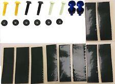 Número De Matrícula Kit De Fijación Tuerca & Perno Amarillo Blanco Negro Azul X24 y 20 Almohadillas Adhesivas