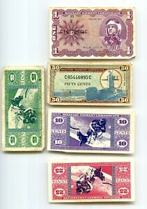 United States Military Payment Certificates 1968 Series 681 lot of 5 MPC $1 plus