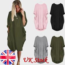 UK Womens Italian Lagenlook Quirky Boho Jersey Cotton Stretch Pocket Tunic Dress