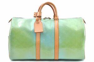 Authentic Louis Vuitton Monogram Vernis Mercer Boston Bag Light Green LV B9289