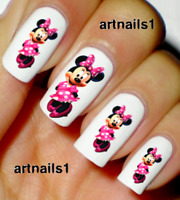 Minnie Mouse Disney Pink Nail Art Water Decals Stickers Manicure Salon Polish
