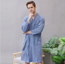 New Men's Long Thin bathrobe Japanese towel material Cotton Nightgown Sleepwear