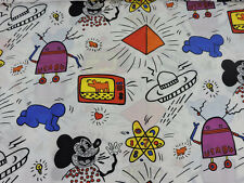 """RARE Vintage Keith Haring Print Art Fabric MICKEY MOUSE 1984 2yds x 44"""""""