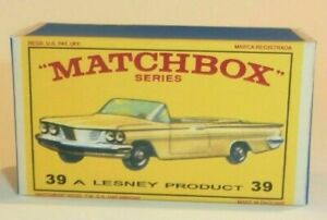 Matchbox Lesney No 39 PONTIAC CONVERTIBLE YELLOW Empty Repro D Style Box