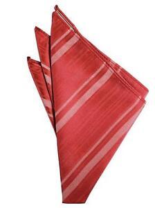 Persimmon Red Striped Satin Handkerchief-pocket square-hankie  NEW