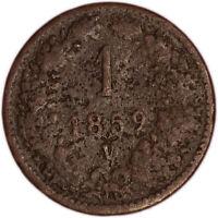 AUSTRIA coin 1 Kreuzer 1859 mint mark V