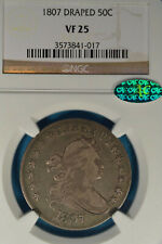 1807 Draped Bust Half Dollar, Scarce This Nice, NGC & CAC VF25
