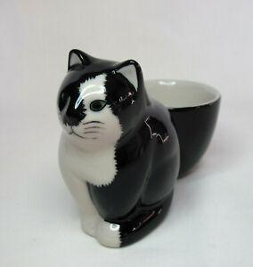 Quail Ceramics Egg Cup -  Black & White Cat