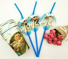 20 pcs moana cup & straw birthday Decoration Party Supplies.