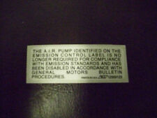 Impala SS~Air Pump Disable Decal~LT1 Caprice~9C1~TSB #01-06-04-011~12569123~NOS~