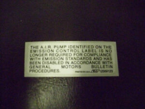 Impala SS~Air Pump Disable Decal~LT1 Caprice~9C1~TSB #01-06-04-011~12569123~NOS~