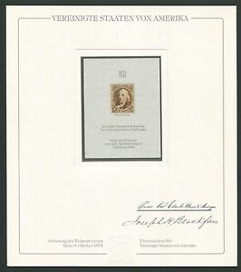 USA No. 1 OFFICIAL REPRINT UPU CONGRESS 1984 DELEGATES GIFT !! RARE !!