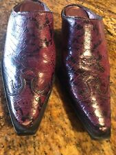 Nine West Shades Of Purple w/black Animal Print Leather Mules/Slip On Shoes 6M