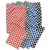 CHEF TROUSERS CHEF BLUE, RED, BLACK AND WHITE CHECK CHEF PANTS UNIFORM UNISEX
