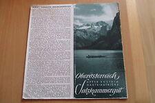 Reiseprospekt Österreich großes  auffaltbares Panorama Salzkammergut um 1940