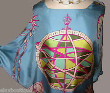 EMILIO PUCCI Silk BLOUSE Scarf Shirt Multi Color Blue Top EXCLNT VINTAGE 10 8 6