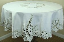 """60"""" Round Embroidered Cutwork Peacock leaves Embroidery Tablecloth Napkins"""