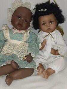 Two Black Porcelain Ashton Drake dolls by Yolanda Bello (1991) & Dianna Effner